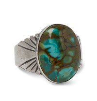 Foundwell Vintage 1980S Sterling Silver Dragon Skin Turquoise Ring Silver