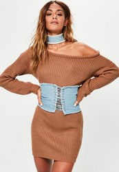 Missguided Brown Off Shoulder Knit Sweater Dress