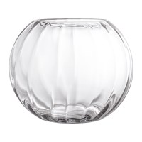 Bloomingville Round Ridged Glass Vase Clear
