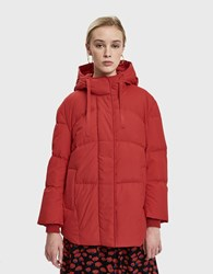 Just Female Puffy Down Jacket In Scarlet