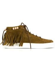Louis Leeman Fringed Hi Top Lace Up Sneakers Brown
