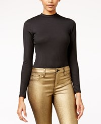 Material Girl Juniors' Rib Knit Mock Neck Bodysuit Only At Macy's Caviar Black