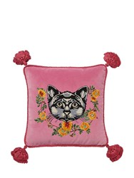 Gucci Cat Embroidered Velvet Pillow Pink