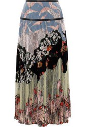 Valentino Woman Pleated Lace And Printed Silk Crepe De Chine Maxi Skirt Multicolor