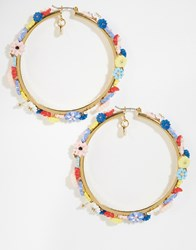 Les Nereides Hoop Earrings With Floral Enamel Gold