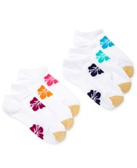 Gold Toe Women's 6 Pk. Hibiscus Liner Socks White