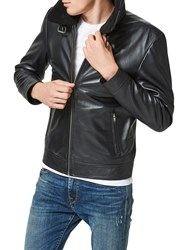 Selected Homme Shnteddy Leather Jacket Black