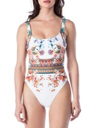 Kenneth Cole Reaction Printed One Piece Swimsuit Black