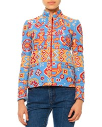 Valentino Long Sleeve Tribal Print Jacket Multi Colors