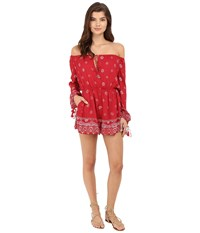 The Jetset Diaries Fuego Romper Red Rose Print Women's Jumpsuit And Rompers One Piece