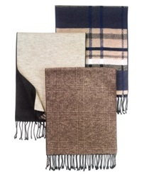 Club Room Scarf Silk Brown Khaki Plaid