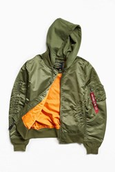Alpha Industries X Uo Monochromatic Hooded L 2B Bomber Jacket Olive