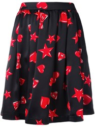 Moschino Heart Print Skater Skirt Black