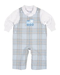 Florence Eiseman Plaid Train Overalls W Polo Size 3 18 Months Blue Gray