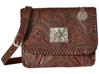American West Grand Prairie Flap Crossbody Chestnut Brown Cross Body Handbags