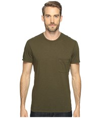 7 For All Mankind Short Sleeve Raw Pocket Crew Olive Men's Clothing