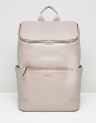 Matt And Nat Brave Rose Gold Zip Backpack Fog With Rose Gold Grey