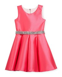 Zoe Matte Sateen Swing Dress W Crystal Belt Pink