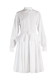 Givenchy Point Collar Fluted Peplum Cotton Dress White