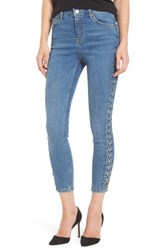 Topshop Women's Jamie Side Lace Up Skinny Jeans Mid Denim