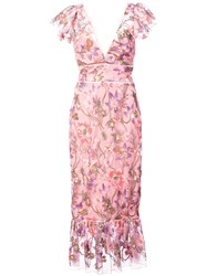 Marchesa Notte Floral Fitted Dress Pink And Purple