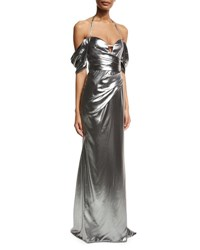 J. Mendel Metallic Off Shoulder Halter Gown Pewter