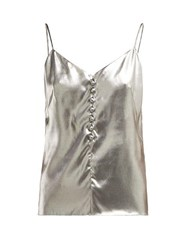 Hillier Bartley Metallic Silk Cami Top Silver