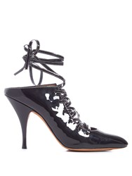 Givenchy Lace Up Patent Leather Mules Black
