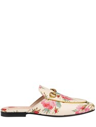 Gucci 10Mm Princetown Floral Leather Mules Off White Multi