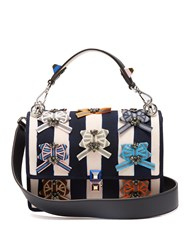 Fendi Kan I Embellished Canvas Shoulder Bag Blue Stripe