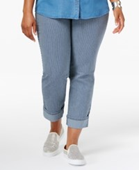 Styleandco. Style Co. Plus Size Railroad Stripe Wash Cuffed Capri Jeans Only At Macy's