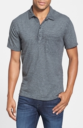 7 For All Mankind Trim Fit Raw Edge Polo Charcoal