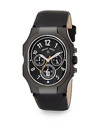 Philip Stein Teslar Classic Chronograph Black Plated And Leather Strap Watch