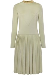 Burberry Chain Detail Pleated Stretch Silk And Crepe Dress Green
