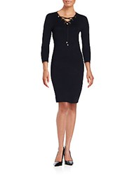 Calvin Klein Solid Three Quarter Sleeve Sheath Dress Black