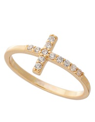 Lord And Taylor Goldtone Sterling Silver Cross Ring With Crystal Embellishments