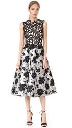 Monique Lhuillier Sleeveless Dress Noir Silk White