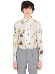 Gucci Pleated Floral Printed Silk Twill Shirt