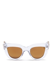 Ellery X Graz 'Quixote' Acetate Cat Eye Mirror Sunglasses White