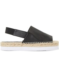 Dune Lucindie Leather Espadrille Sandals Black Leather