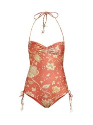 Zimmermann Veneto Paisley Print Ruched Swimsuit Red