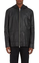 Public School Men's Leather Zip Front Hoodie Black