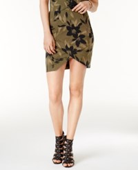 Guess Amore Printed Tulip Front Skirt A Macy's Exclusive Style Camouflora Olive Night