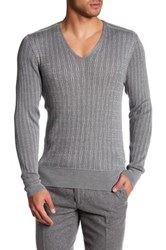 John Varvatos Cable V Neck Sweater Gray