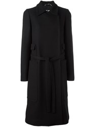 Rochas Belted Double Breasted Coat Black