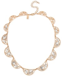 Inc International Concepts Rose Gold Tone Multi Crystal Openwork Collar Necklace Only At Macy's
