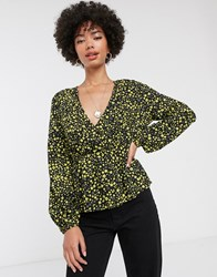 Only Mary Long Sleeve Wrap Blouse Black