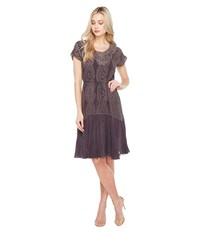 Johnny Was Halfrid Dress W Slip Grey Onyx Women's Dress Gray
