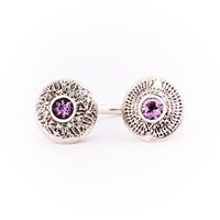 Becky Dockree Jewellery Silver Double Dome Amethyst Ring Pink Purple