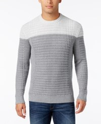 Alfani Men's Big And Tall Textured Colorblocked Sweater Only At Macy's Light Grey Heather